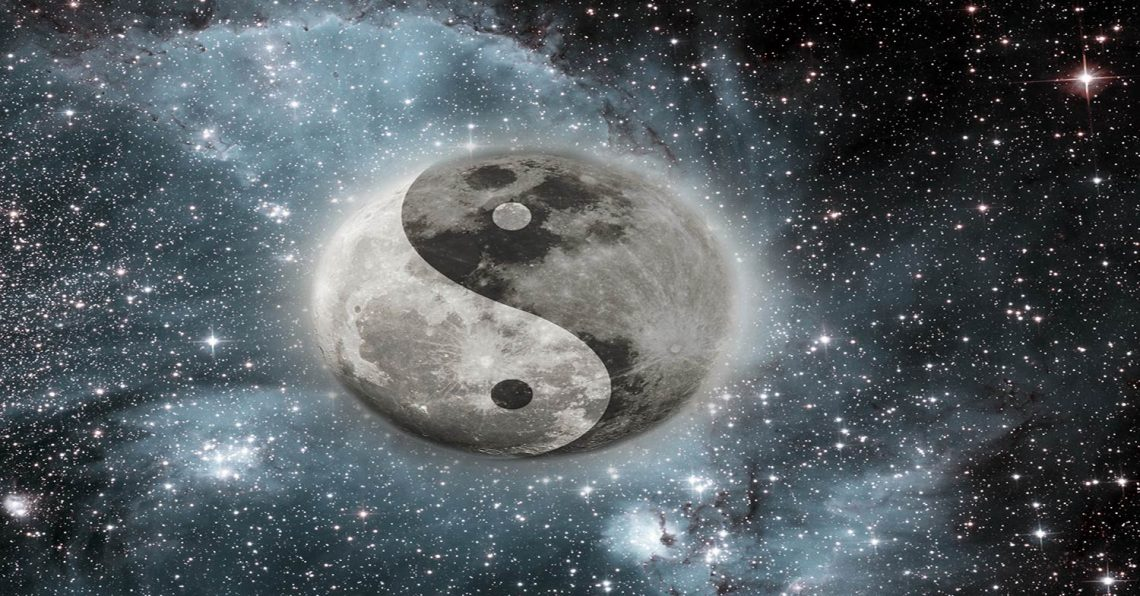 laws of karma image of yin and yang symbol in space