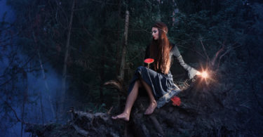woman sitting on a tree in the woods