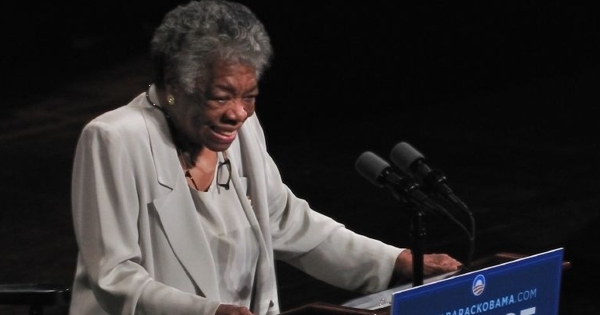 """Maya Angelou speech for Barack Obama campaign 2008"" by Talbot Troy - originally posted to Flickr as Maya Angelou. Licensed under CC BY 2.0 via Commons - https://commons.wikimedia.org/wiki/File:Maya_Angelou_speech_for_Barack_Obama_campaign_20Maya_Angelou speech for Barack Obama campaign 2008"