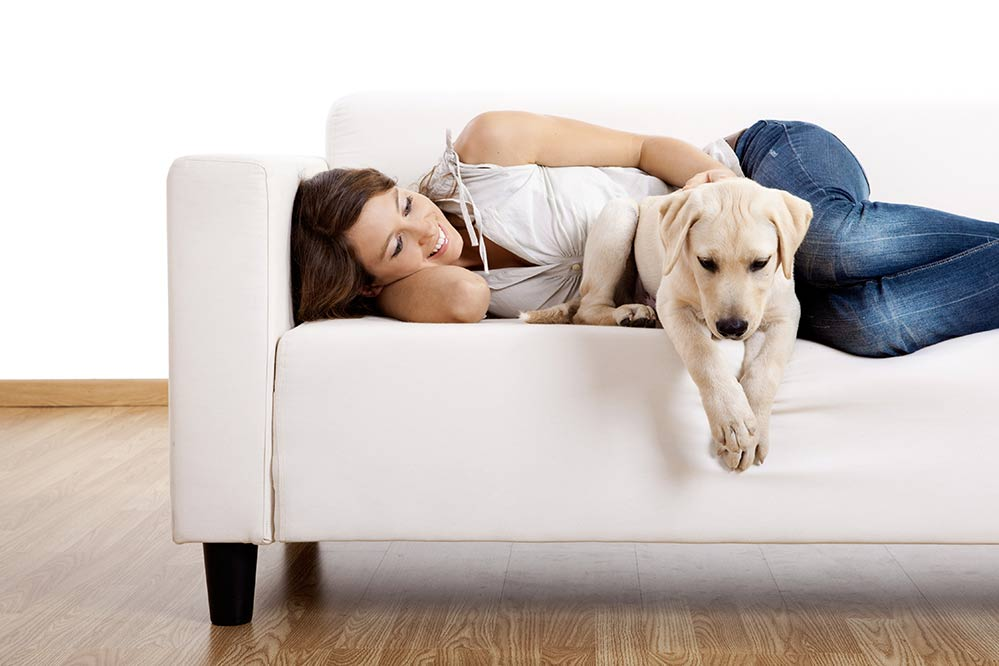 image of a single woman relaxing on the couch with her dog
