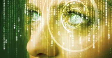 Modern cyber woman with matrix eye