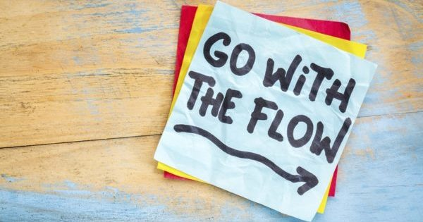 Go with the flow advice on sticky note