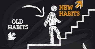image of chalk man walk upstairs with signs saying good habits