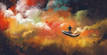 a man sailing in the night sky