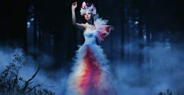 image of mystical woman in forest fog