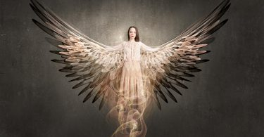 image of young woman as angel