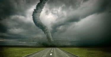image of tornado on an open road